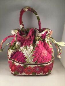 Vera Bradley Hello Dahlia Purse Tote Handbag Drawstring Quilted Floral Pink