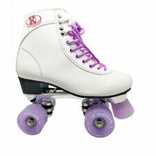 Women Classic Retro 4 Wheel Quad Roller Skates Boot White Violet Skating Shoes