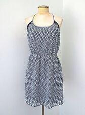 NWT Charlotte Russe Blue White Diamond Stripe Blousy Halter Dress Lace Back L
