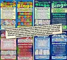 Phonics & Spelling Bingo Activities & Ideas Books, 4 Skill Levels for English.