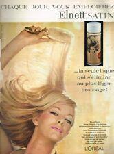 B- Publicité Advertising 1963 Laque spray Cheveux Elnett Satin de L'Oreal