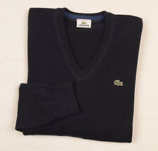 LACOSTE Mens Jumper Large size 5 V-neck Sweater Cotton Knit Navy RRP £130+