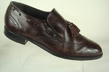 Hanover Burgundy Slip On Leather Tassel Wingtip Dress Shoes Loafers Size 8.5 EEE