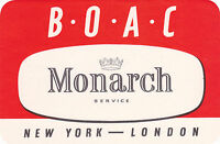Airline Label Luggage LARGE BOAC MONARCH SERVICE British Overseas Airways Scarce