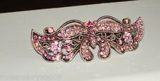 PINK BUTTERFLY~SUPER SHINY AUSTRIAN CRYSTAL SILVER TONE BARRETTE~NEW