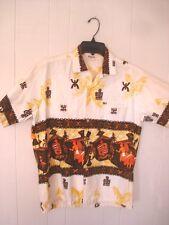 VINTAGE TROPICANA HAWAIIAN ALOHA BARK CLOTH SHIRT  M