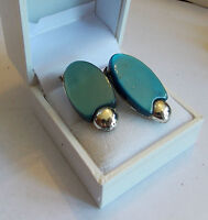 Vintage Silver tone Teal Blue Thermoset Lucite Oval Clip on Earrings