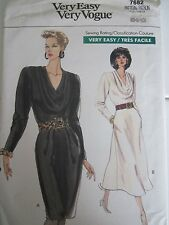 Vogue 7682 Dress EASY Cowl Neck Slim or Full Evening PATTERN Sizes 6-8-10 UNCUT