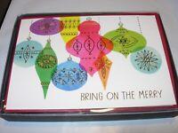16 Christmas Cards & 17 ENVELOPES HALLMARK mod tree ornaments GOLD PINK 1960 5X7