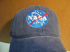 NEW! OTTO NASA Embroidered Logo Washed/Worn Look Pigment Dyed Ball Cap Hat Blue