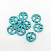 6 Turquoise Howlite Beads Peace Sign Shape 25mm x 4mm Gemstone - BD1441