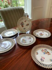 """OLD PARIS PORCELAIN FRANCE SET 7"""" Reticulated PLATES W/ HP Flowers 1800's"""