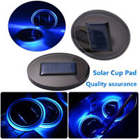 2x LED Blue Cup Holder Coaster Solar Powered Car SUV Bottom Pad Mat Lamp LD1095