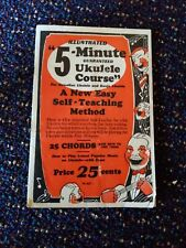 Free Ship 1927 Illustrated 5 Min Guaranteed Ukulele Course Booklet Self Teaching