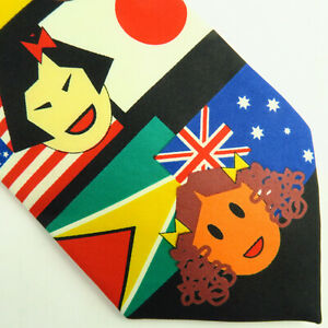 """St. Jude Childrens Hospital Mens Neck Tie Multi-Cultural Flag 56""""x4"""" Bright Red"""