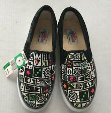 vintage skater canvas slip on shoes black with black white neon graphics