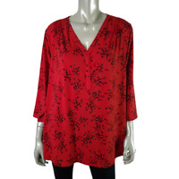 Croft & Barrow Womens Top Plus Size 1X V-Neck Floral Pullover 3/4 Sleeve Red