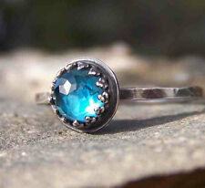 London Blue Topaz Rose cut bezel set in sterling silver ring. size 6.5