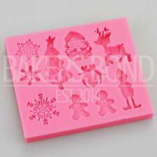 Navidad Silicona Molde-copo de nieve renos Santa árbol Elf Fondant Chocolate