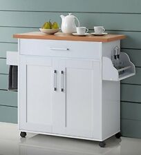 Hodedah Kitchen Island with Spice Rack, Towel Rack  Drawer, White with Beech Top