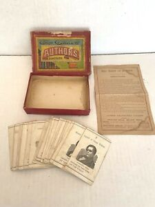 Antique Vintage Game of Authors Illustrated Parker Bros Early 30 Cards Original