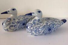 Pair Of Vintage Porcelain Blue Floral & White Duck Figurines