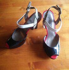Black, Red, White and Snakeskin Print Peeptoe Heels