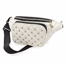 White Padded Stud Faux Leather Bum Bag Fanny Pack Festival Holiday Accessories