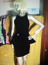SENSATIONAL 80S/90S PLUSH velvet BLACK/BROWN 'LEON HASKIN'(melb) MINI DRESS. 10.