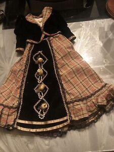 """Doll DRESS For Gibson girl fit 16 """"doll vtg cotton W/black Velvet Trim/Jacke"""