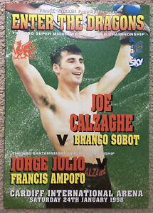 SUPERB RARE THE GREAT JOE CALZAGHE V BRANCO SOBOT VINTAGE ON SITE PROGRAMME 1998