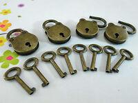 (Lot of 4) Old Vintage Style Mini Padlocks With Keys (ANTIQUE BRONZE COLOR)