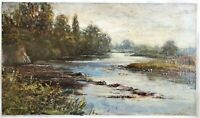 SMALL ORIG ANTIQUE OIL PAINTING BRITISH RIVER LANDSCAPE SIGNED COUNTRY FINE ART
