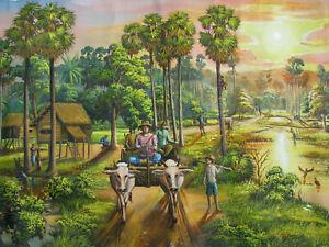 "1970s CAMBODIA Oil Painting OXCART BRAHMAN BULLS lg 30x57"" CAMBODIAN VILLAGE vtg"