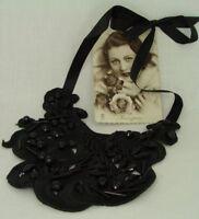 Romantische vintage Halskette Kunstperlen Textilkette schwarz weiß Modeschmuck