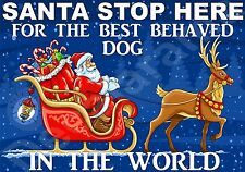 SANTA STOP HERE BEST BEHAVED DOG The World Sign (A-J) Christmas Novelty Gift