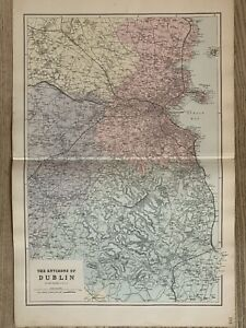1884 Environs of Dublin Antique Hand Coloured Map by Edward Weller