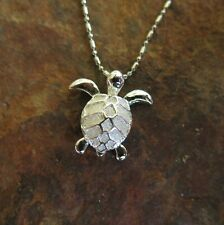 Hawaiian Jewelry 925 Sterling Silver Turtle with Lined Shell (S) Pendant SP26601