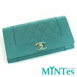 Auth Chanel Mademoiselle Round Fastener Wallet A80971 Emerald Green Leather Wall