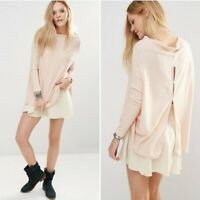 Free People Lovers Rib Peach Ribbed Knit Split Back Tunic Top Sweater Size L