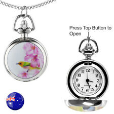 One Pink Hummingbird FOB/Pocket/Necklace Quartz Watch with 80CM Long Chain