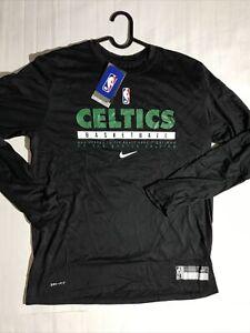 L Nike 2021 Team Issued Boston Celtics Practice Shirt Long Sleeve CK8296-010