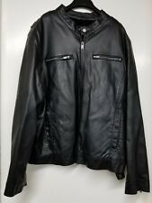 Guess Faux Leather Jacket with Faux Fur Lining Mens XL Black Full Zip