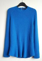 M&S COLLECTION LADIES BLUE 100 %CASHMERE RIBBED JUMPER SIZE 10