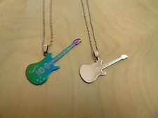 Empowering Jewelry 2 Necklaces Titanium Silver Tone Alloy Guitar Rock Indie Punk