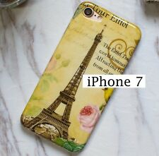 iPhone 7 / 8 - Hard TPU Rubber Gummy Skin Case Cover Paris Eiffel Tower Flowers