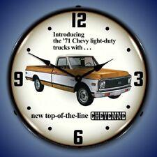New 1971 Chevrolet Cheyenne pickup truck advertising LIGHT UP clock  USA Made