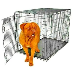 X-LARGE DOG CRATE 48x29x32 2-Doors Pet Kennel Metal Folding Cage Portable NEW!