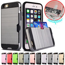 Shockproof Metal Brushed Rubber Hybrid Hard PC Card Slot Holder Phone Case Cover
