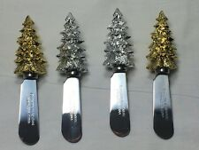Holiday Christmas Cheese Butter Spreaders Set of 4 Boston Warehouse Stainless